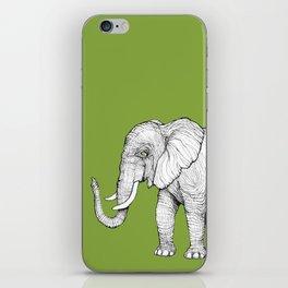 Elephant on Bright Olive iPhone Skin