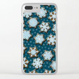 Frosted Gingerbread on Winter Night Sky Clear iPhone Case