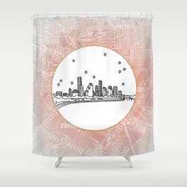 Houston, Texas City Skyline Illustration Drawing Shower Curtain