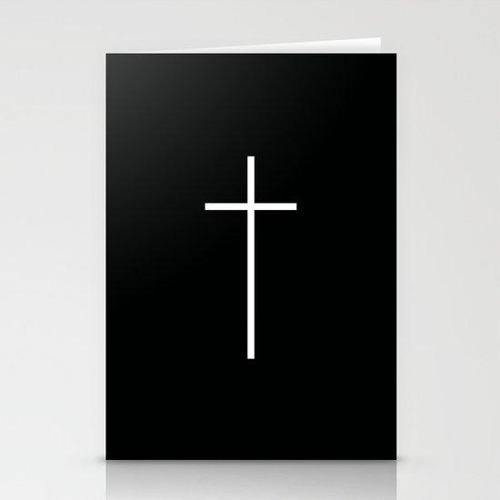 Christian Cross Black Stationery Cards