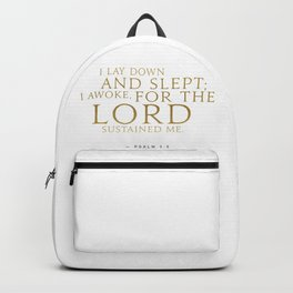 Psalm 3:5 Bible Verse - White Gold Backpack