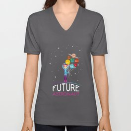 Future Astronaut With Planets Funny Gift For Kids Unisex V-Neck
