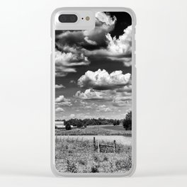 gray scale farmland Clear iPhone Case