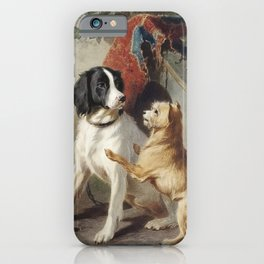 Two dogs by a kennel by Conradijn Cunaeus (1828–1895). iPhone Case