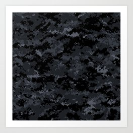 Pixelated Dark Grey Camouflage Art Print