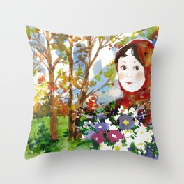 Portrait of a Girl with a Flower Bouquet Throw Pillow