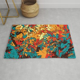 Metallic Forest Retro Electric Red Rug