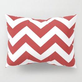 Firebrick - red color - Zigzag Chevron Pattern Pillow Sham