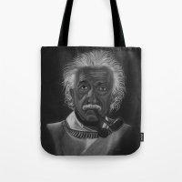 einstein Tote Bags featuring Einstein by Paula Leão