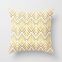 Gold art deco diamonds on white Throw Pillow