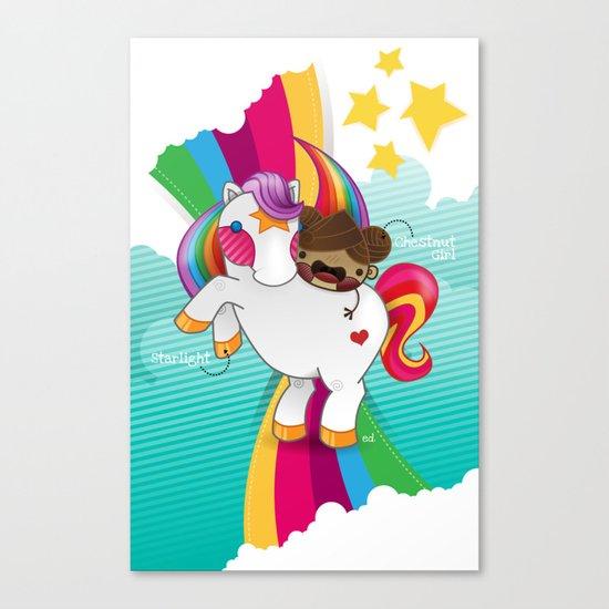 Chestnut Girl And Starlight Canvas Print