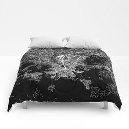 Helsinki Black Map Comforters