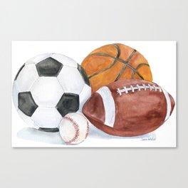 Sports Balls Watercolor Painting Canvas Print