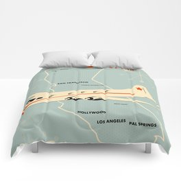 California 1950s vintage style travel poster Comforters