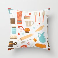 baking Throw Pillows featuring baking pattern by olillia