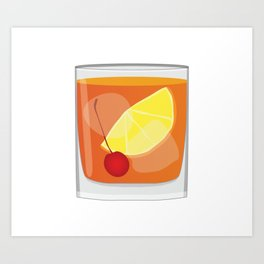 Old Fashioned Cocktail Art Print