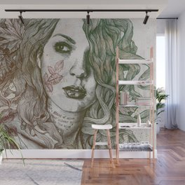 Wake: Autumn (street art woman with maple leaves tattoo) Wall Mural
