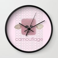 camouflage Wall Clocks featuring Camouflage by fabiotir