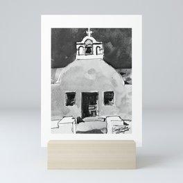 Greek Church Santorini Black and White Watercolor Painting Mini Art Print