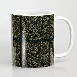 Yellow and Black Abstract Geometric Doodle Grid Coffee Mug