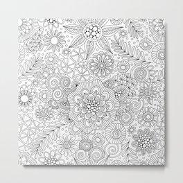White Doodle Pattern Metal Print