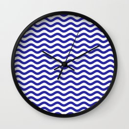 Waves (Navy & White Pattern) Wall Clock