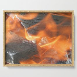 Natural fire burns firewood Serving Tray