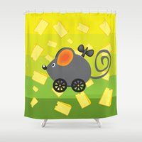cheese Shower Curtains featuring cheese lover by mangulica illustrations