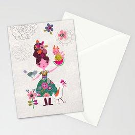 Folk Girl Stationery Cards