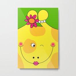 Giraffe Love Art - Cute, funny, colorful, lovely Children's Art Metal Print