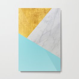 Carrara marble with gold and Pantone Island Paradise color Metal Print
