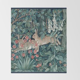 William Morris Forest Rabbits and Foxglove Greenery Throw Blanket