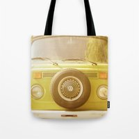 vw Tote Bags featuring Retro VW by ShadeTree Photography