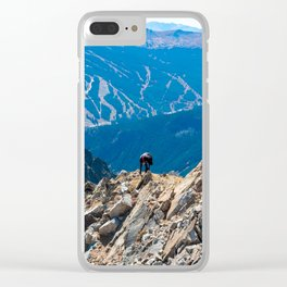 Dog Gone Climbing // High above Copper Mountain Ski Resort in Colorado Landscape Photograph Clear iPhone Case