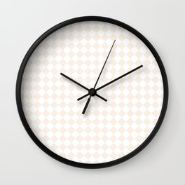 Small Diamonds - White and Linen Wall Clock