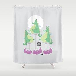 Dragons Ride Rhinos Shower Curtain