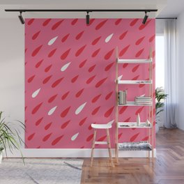 Red + Pink Droplets Wall Mural