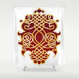 Ornate Royal Red and Gold Shower Curtain