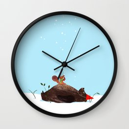 Brown Bear and Squirrel Wall Clock