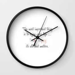 Inspiration Typography Quote Words Pastel Wall Clock