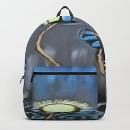 Blue and Gray Cheerful Childlike Spring Daisies Backpack
