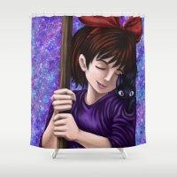 kiki Shower Curtains featuring Kiki and Jiji by Kimberly Castello