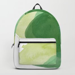 Abstract Organic Watercolor Shapes Painting in Green Backpack