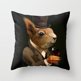 Sophisticated Pet -- Squirrel in Top Hat with glass of wine Throw Pillow