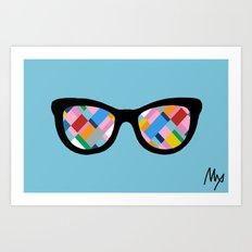 Map 45 Glasses on Sky Blue Art Print