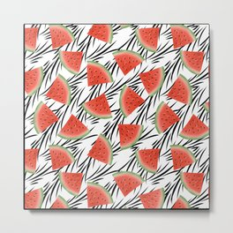 Watermelon slices on white black stripes on the background. Metal Print