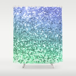 Glitter Sparkling Blue Green Turquoise Teal Shower Curtain