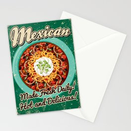 Mexican Chili Retro Poster Stationery Cards