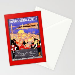 Vintage Simplon Orient Express London Constantinople Stationery Cards