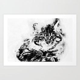 Watercolor Kitty Black&White Art Print